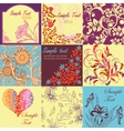 Set of retro floral backgrounds and seamless vector image vector image