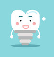 happy healthy cartoon tooth implant character vector image