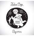 Aquarius zodiac sign of horoscope circle emblem in vector image