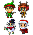 cute christmas chibi caracters set vector image