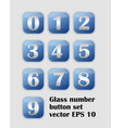artistic number set blue buttons with metallic vector image