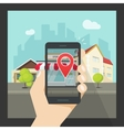 Augmented reality on mobile phone virtual popular vector image