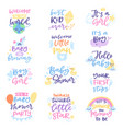 baby shower sign boy or girl newborn kids vector image