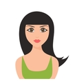 cute cartoon brunette girl icon isolated on white vector image
