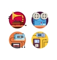 Music player vintage retro icons vector image