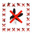 set mosquito crossed icon vector image