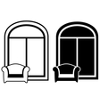 set of armchair and window silhouette vector image