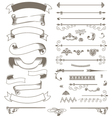 Vintage ribbons and design elements set vector image