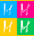 barber shop sign four styles of icon on four vector image