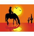 cowboy silhouette vector image vector image