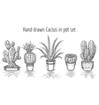 Beauty cacti Hand drawn cactus in pot set vector image