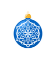 Blue Ball with Snowflake Isolated on White vector image