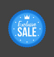 exclusive sale flat blue sign round label vector image