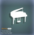 Grand piano icon On the blue-green abstract vector image