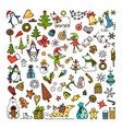 set of colored doodles of merry christmas icons vector image