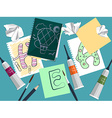Set with notebook drawings and art supplies on the vector image