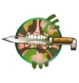 Soldiers knife which holds in the teeth of vector image