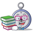 student with book compass character cartoon style vector image