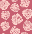 pattern of flowers pink roses vector image