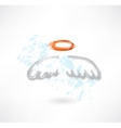 wings and nimbus grunge icon vector image