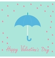Pink heart rain with blue umbrella Flat design vector image
