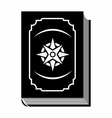 Book with eight-pointed star black simple icon vector image