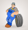 Car Mechanic with Tyre vector image
