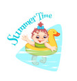 family having fun in the water vector image