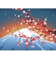 landscape with sakura and Fuji vector image