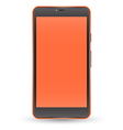 Modern orange color touchscreen cellphone vector image