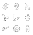 Hemp icons set outline style vector image