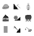 Mine set icons in monochrome style Big collection vector image