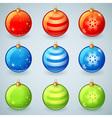 Christmas glass toy balls set isolated vector image