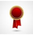 Red Color award badge and ribbon Premium vector image