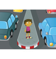Boy crossing road vector image
