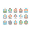 cartoon people icon set character vector image