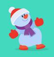funny cartoon snowman flat icon vector image