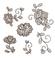 Old lace ornamental flowers vector image