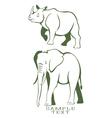 rhino and elephant vector image