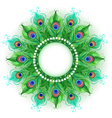 Mandala of Green Peacock Feathers vector image