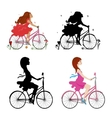 Set pregnant and non-pregnant girls riding bikes vector image