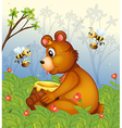 A bear and the pot of honey in the middle of the vector image vector image