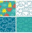 Cartoon robots seamless patterns vector image vector image