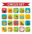 circus icon set flat cartoon style set isolated vector image