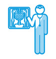 blue shading silhouette pictogram doctor and vector image