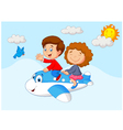 Kids Going on a Joyride in a Mini Plane vector image