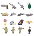 Military and war cartoon icons vector image
