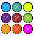 Lacrosse Sticks crossed icon sign Nine multi vector image