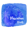 Watercolor Hawaiian tropical graphic design vector image