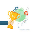 hand holding winners trophy award flat vector image
